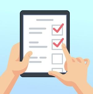 Image of hands holding tablet with online survey form