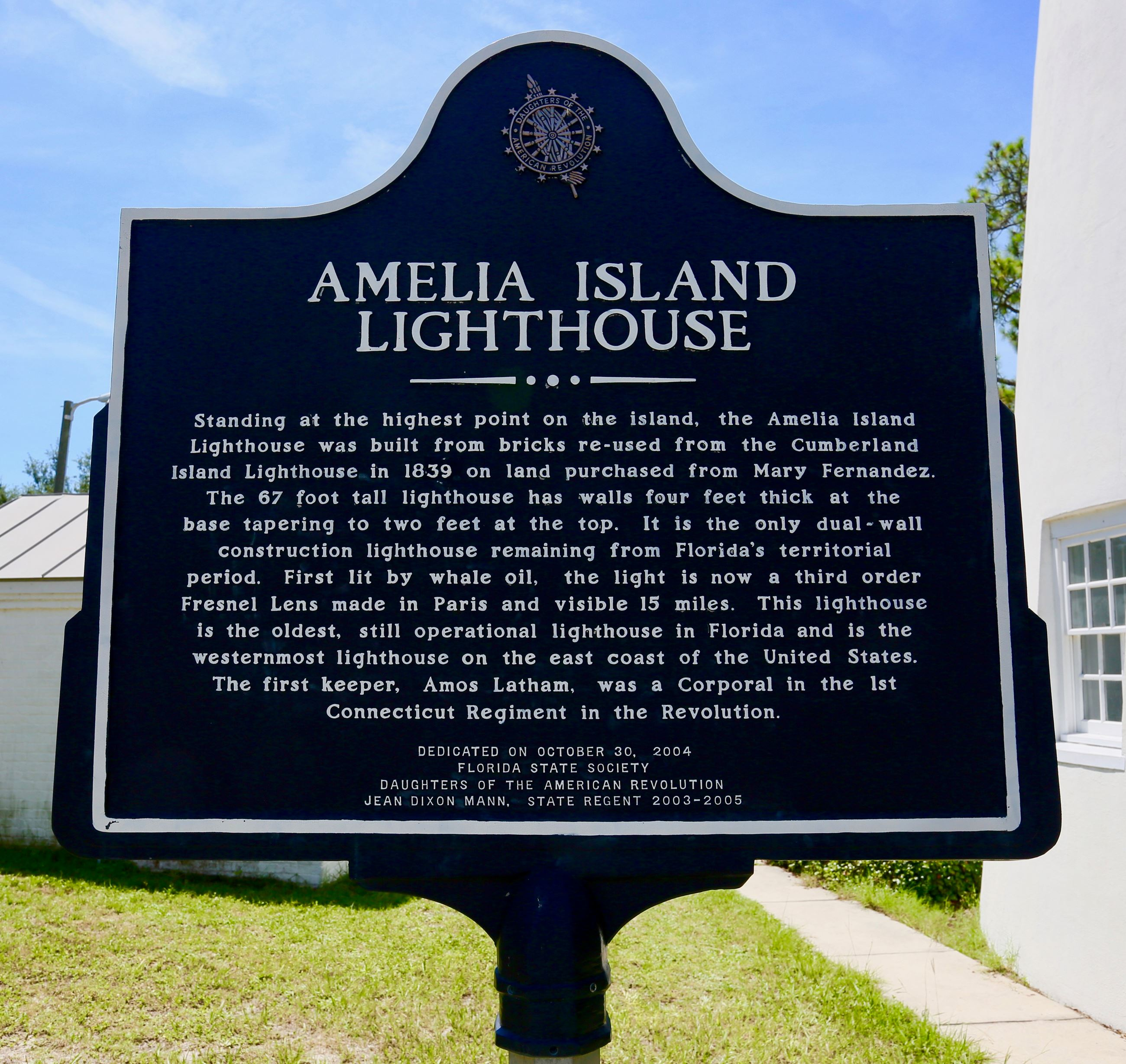 Amelia Island Lighthouse plaque